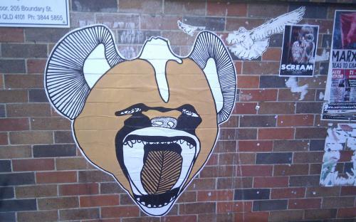 Paper stencil, Bent Books entrance, West End, 26/04/2011